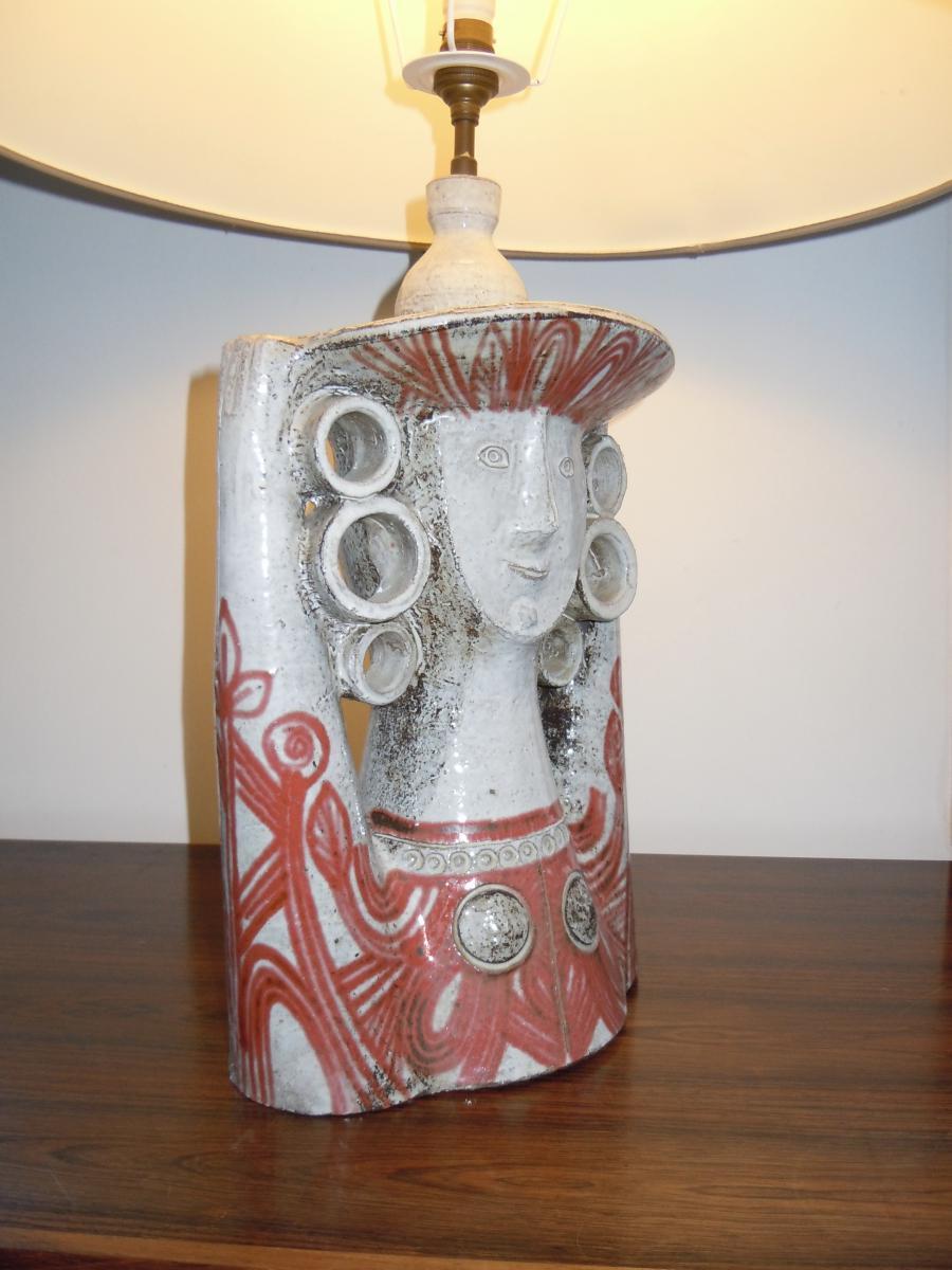 Derval jean 1925 2010 lampe femme au chapeau terre cuite verniss e 1955 autres c ramiques - Chapeau cheminee terre cuite ...