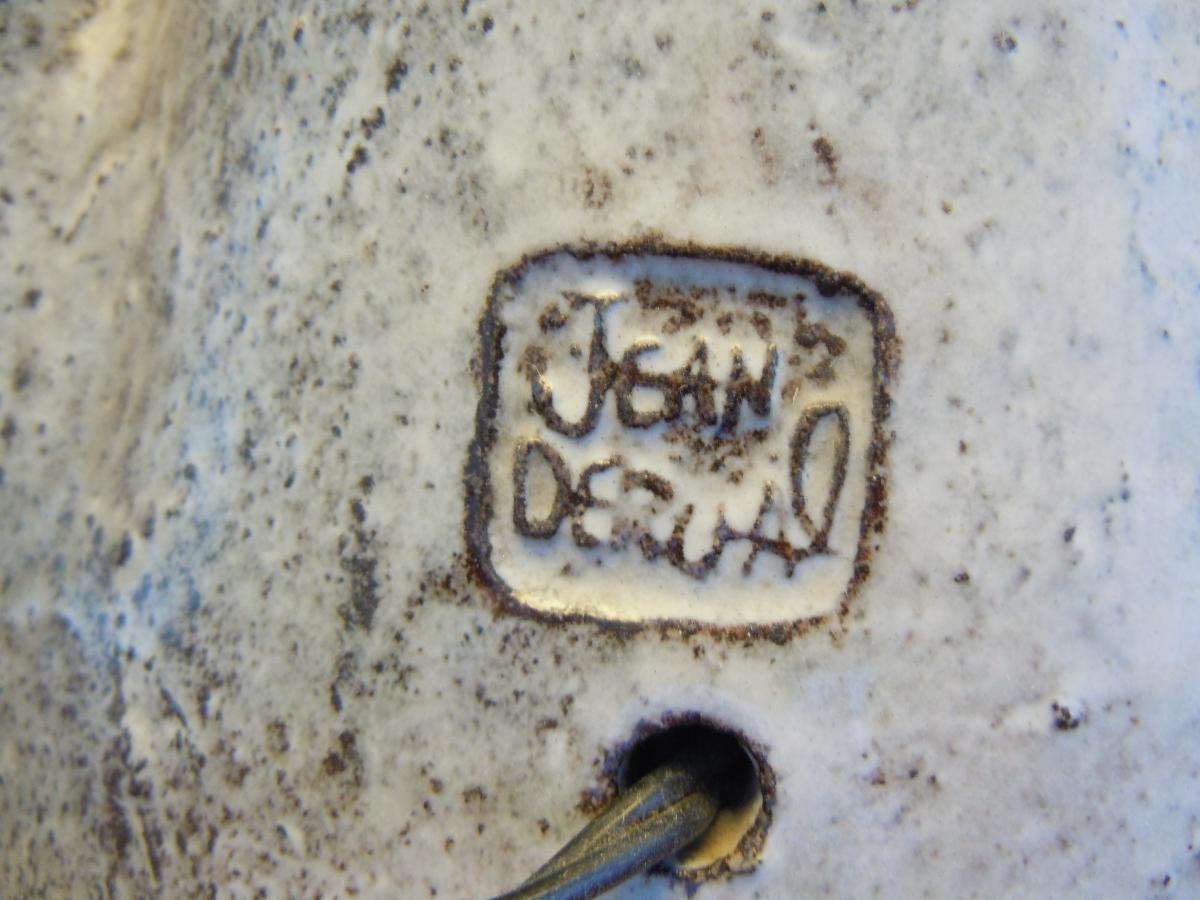 Derval Jean 1925-2010 Lampe Femme Au Chapeau Terre Cuite Vernissée 1955
