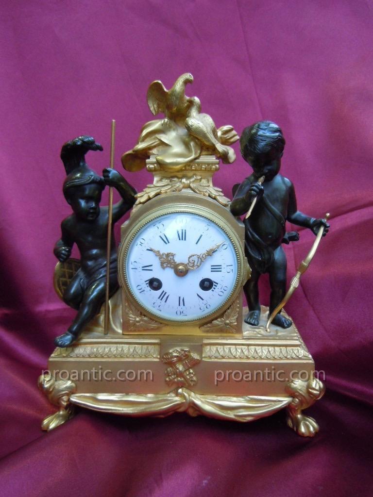 Pendule Bronze 19ème l'Amour triomphant de la Guerre d'après François VION