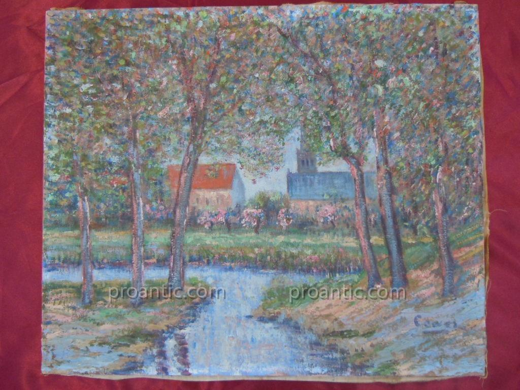 Cowez Bernard Early 20th Oil Post Impressionist Morning Of Spring 10f