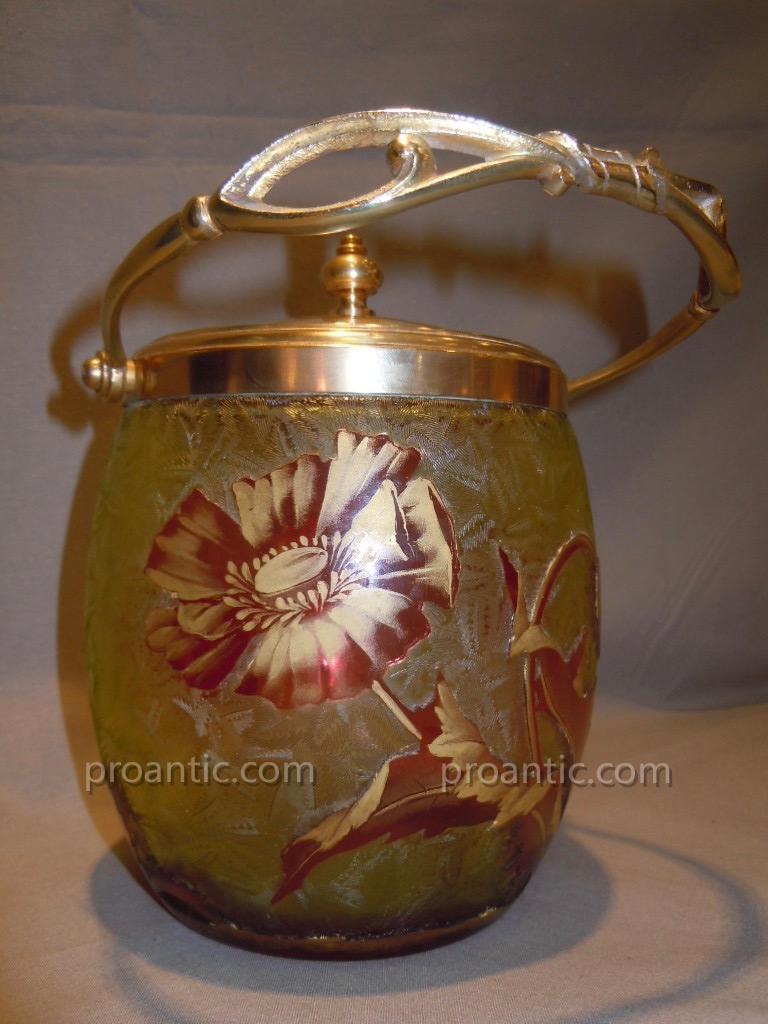 Baccarat Bucket Popcorn Flower Box Art Nouveau 1900 Multi-layer Crystal