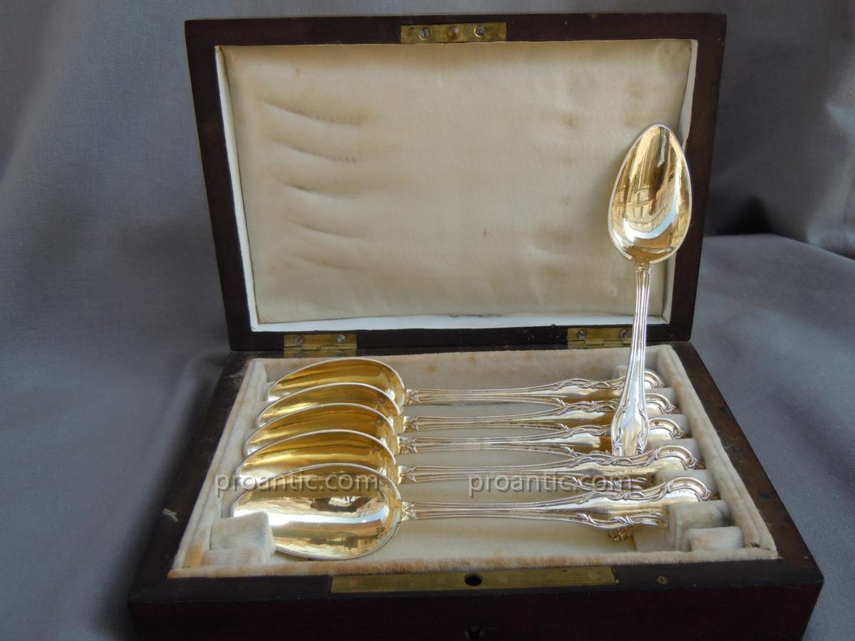 Suite De 6 Cuillères à Thé Dessert En Vermeil Argent Minerve Napoléon III Coffret Palissandre