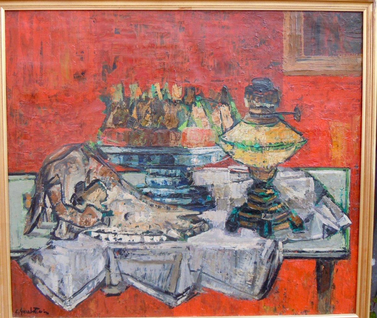 Crikor Garabetian (1908-1993) Still Life Vanity Skull Animal 55x63 Cm Oil On Canvas Signed
