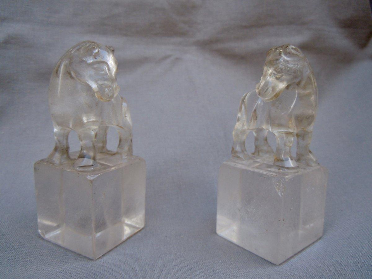 Chine Dynastie Qing Manchous 1644-1912 paire De Sceaux Cachets Cristal De Roche Chevaux XIXème 19ème  中国清朝满族1644对封印邮票水晶     sceau cachet 岩马第十九世纪19日