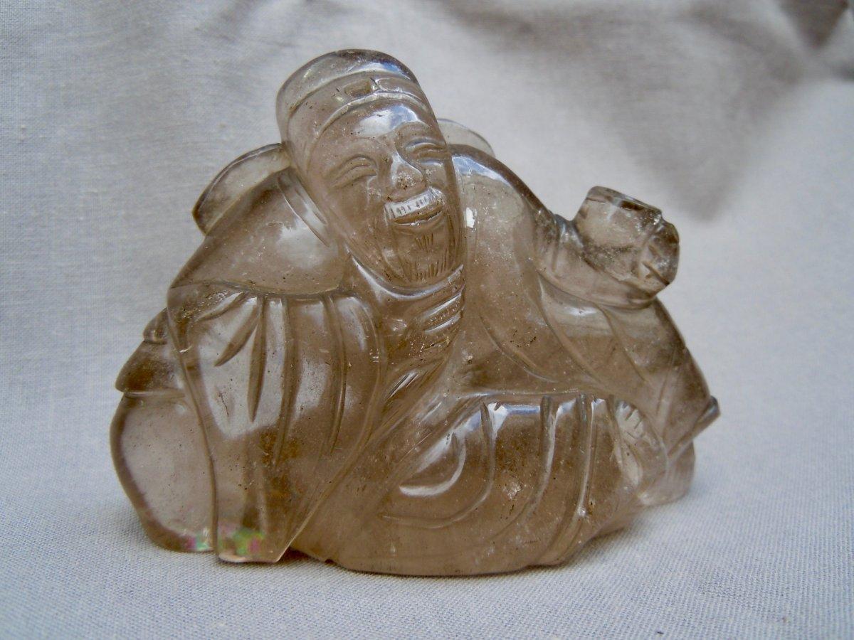 Chine Début XXème Sage Ou Immortel Groupe En  Cristal De Roche Fumé Fin Dynastie Qing 1644-1912  中国二十世纪初的智者或不朽群体,发烟岩水晶,清末1644-1912年