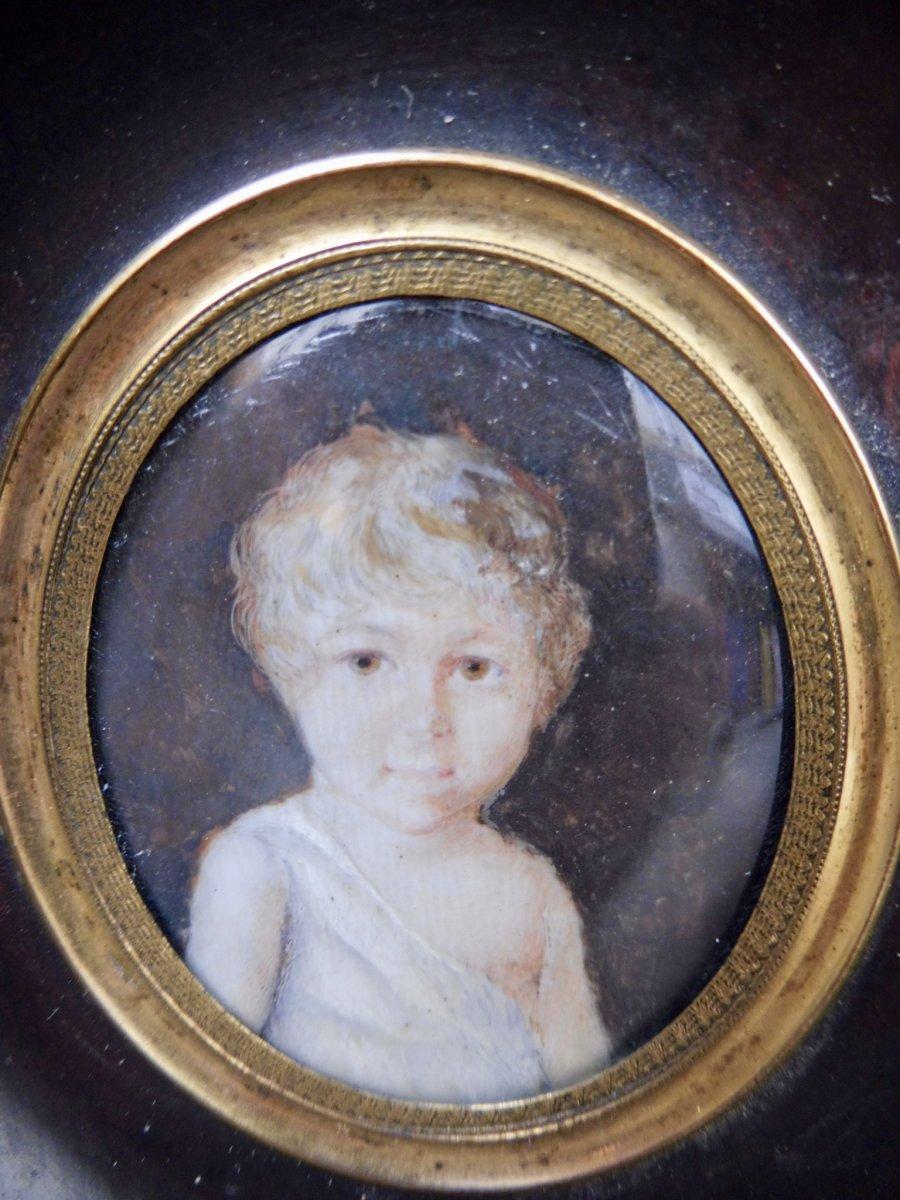 Motelay Etienne Ou Moteley Motelet Mothelay (Attribué à) Miniaturiste Français XVIIIème Miniature Sur Ivoire Enfant garçon