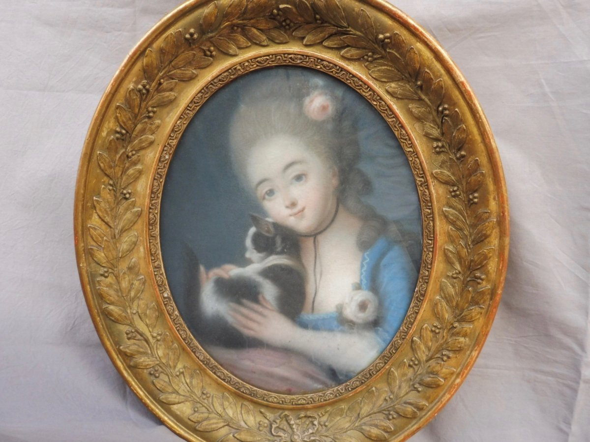 Portrait École Française Du XVIIIème Siècle Suiveur Vigée-Lebrun Jeune Fille Au Chat Pastel ovale Époque Louis XVI