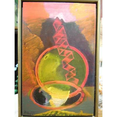 Strohalm Bohumir Dit Bocian 1912-2002 Abstrait-lyrique école Tchèque