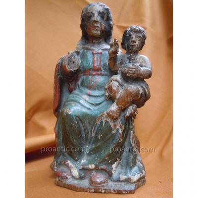 Vierge à l'Enfant Statue Bois Polychrome XVIIIème Chêne