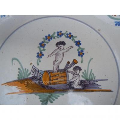 Faience Plate Nevers Eighteenth Century Putti Drum 18th Old Regime