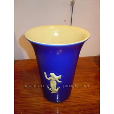 Vase Art Déco Céramique Signé Circa 1930 1940 Art Deco  dans le goût d'Arbus et Androusov 25cm