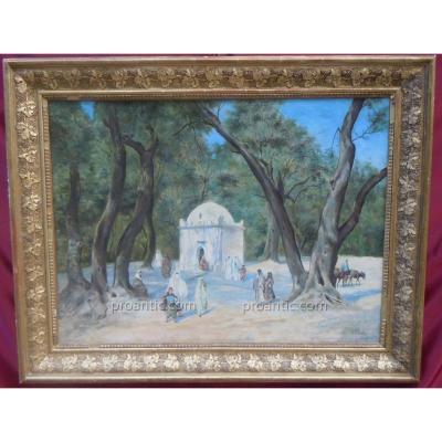 Fortunio XIXème Huile Orientaliste Algérie Blida Marabout De Sidi Yacoub 19ème