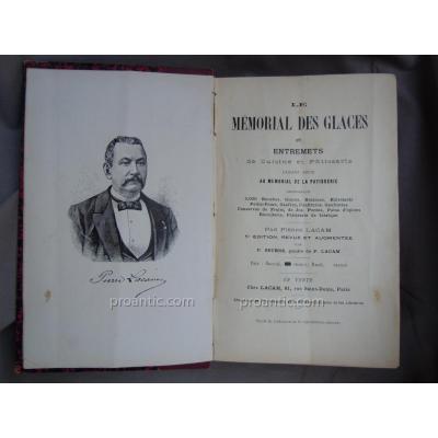 Pierre Lacam Ice Cream Memorial 3000 Recipes Circa 1922