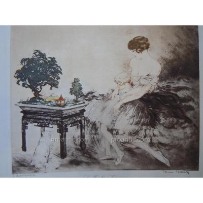 Louis Icart (1888-1950) Eau Forte gravure Couleurs Art Deco Le Jardin Japonais Art Déco