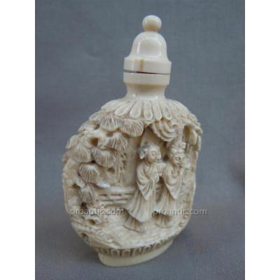 Flacon Tabatière Snuff Bottle Ivoire 19ème Canton Chine Fin XIXème Siècle