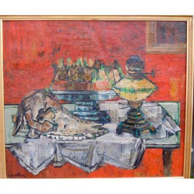 Crikor Garabetian (1908-1993) Nature Morte Vanité Crâne Animal 55x63 Cm Huile Sur Toile Signée peintre Arménien Arménie