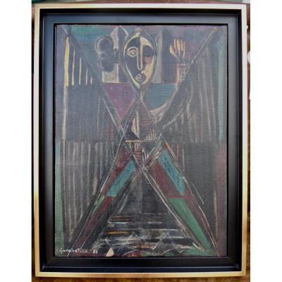 Crikor Garabetian Armenian (1908-1993) Oil On Cardboard Post Cubist Signed Dated 1951 46x34cm Քրիկոր Կարապետյան հայկական (1908-1993) յուղ ՝ ստվարաթղթե վրա K'rikor Karapetyan Haykakan (1908-1993) Yugh ՝ Stvarat'ght'e Vra