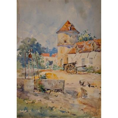 René Leverd 1872-1938 Aquarelle Basse Cour Poules Post-impressionniste Postimpressionnnisme