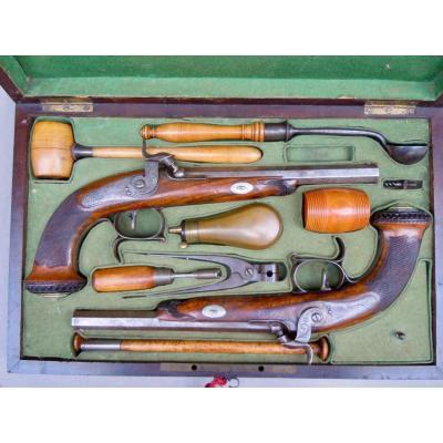 Coffret Cassette Nécessaire Pistolets De Duel Signés Lassence Rongé Liege Circa 1840 XIXème Louis-Philippe