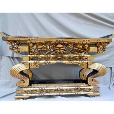 Japanese Console, Japanese Japan Altar Wood Gilded Lacquer End Period Edo 1603 1855 Early Nineteenth