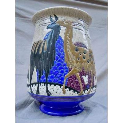 Longwy & Primavera Lama Vase In Enamels Relief Art Deco 1930 Art Deco