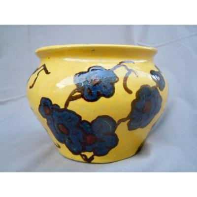 Émile Simonod (1893 - 1977) Vase Art Deco Glazed Terra Cotta On Yellow Background Flower Decor
