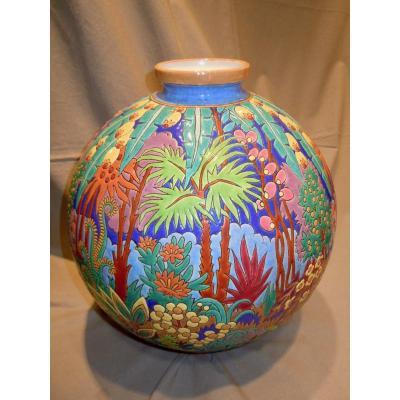 """LONGWY et Maurice-Paul CHEVALLIER Vase """"Boule Coloniale"""" originale  Exposition Coloniale Paris 1931"""