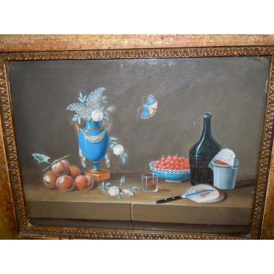Johann Rudolf Feyerabend dit Paul Lelong (Bâle, 1779-1814) Nature Morte Aux Pêches Gouache 15,5x21cm