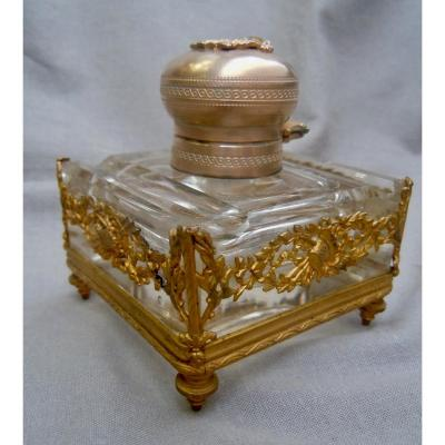 Office Inkwell Crystal And Golden Feather Holder Louis XVI Style 19th XIXth Complete
