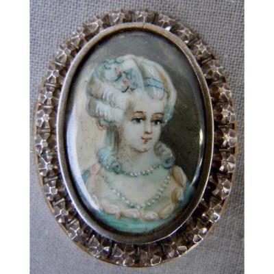 Broche Argent 19ème Ornée d'Une Miniature Portrait Femme XIXème