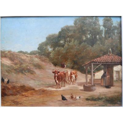 Louis Darey (1848-1917) Student Of E.van Marcke Oil On Panel Cows And Chickens 19th XIXth
