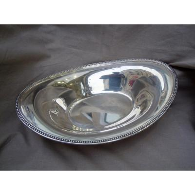 Ercuis Bread Or Fruit Basket Shuttle Shape Louis XVI Pearls Model Silver Metal XXth