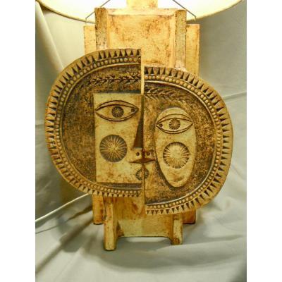 Roger Capron (1922-2006) & Jean Derval (1925-2010) Lampe Dite  « Soleil Et Lune » Circa 1970