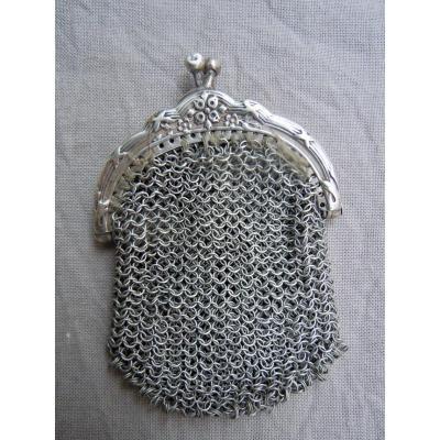 Purse Purse Money Chaplain Silver Chain Mail XIXth 19th