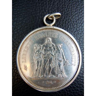 Coin 50 Francs Hercule Argent 1977 Dupré Mounted In Pendant With Silver Bail