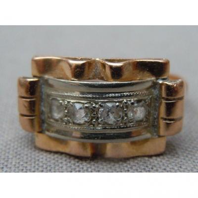 Art Deco Lady Ring Yellow And Gray Gold And Art Deco Diamonds 1930 Finger Ring 53 Eagle Hallmark