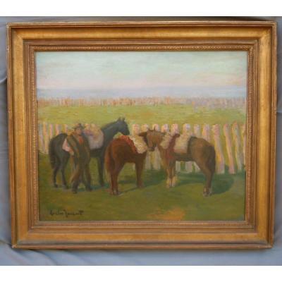 TORENT Evelio 1876-1940 Peintre de Catalogne Barcelone Ami de PICASSO Huile Sur Toile Argentine Chevaux Circa 1910 format 12F 50X61 cm