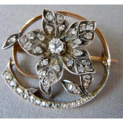 18 K 750 Gold Brooch Yellow And White Eagle Adorned With A Solitary Diamond On Movable Articulated Flower