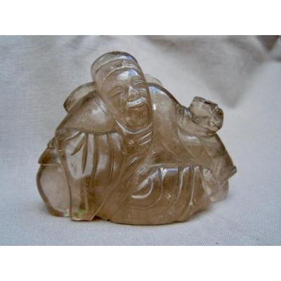 China Early Twentieth Wise Or Immortal Group In Smoky Rock Crystal End Qing Dynasty 1644-1912