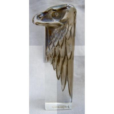 René Lalique 1860-1945 Seal Eagle Head Seal 1911 Patinated Glass Black Engraved Coat Of Arms Coat Of Arms