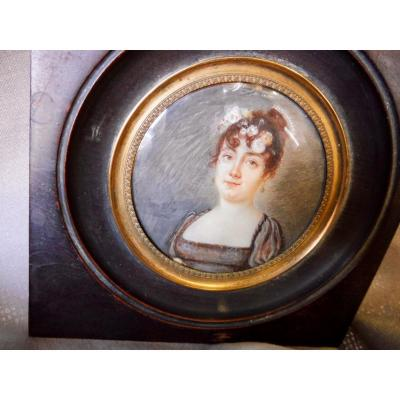 Motelay Etienne Ou Moteley XVIIIth XIXth Miniature On Ivory Young Woman Under The Directory Empire Napoleon