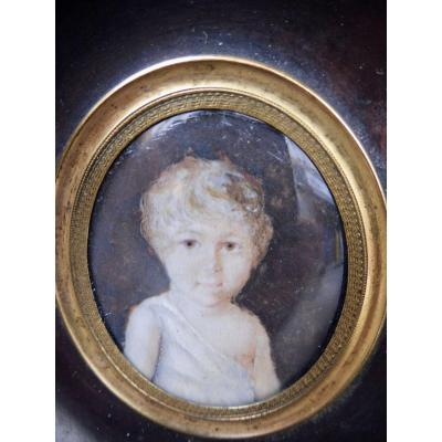 Motelay Etienne Ou Moteley Motelet Mothelay French Miniaturist(attributed To)  XVIIIth Miniature On Ivory Child Little Boy