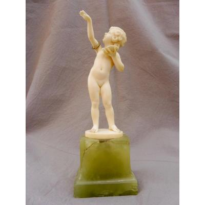 Ferdinand Preiss (1882-1943) Young Girl Direct Size Ivory Sculpture 1925 Art Deco Deco