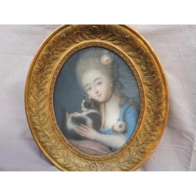 French School From XVIIIth Century Follower Vigée-lebrun Young Girl With Pastel Oval Cat Louis XVI