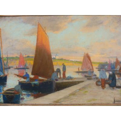Mathurin Janssaud 1857-1940 Pastel Retour De Pêche En Bretagne Port Concarneau Marine 24x35cm