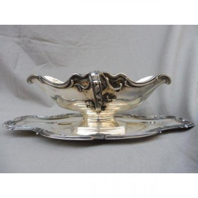 Louis XV Rocaille Style Table Sauce Boat Sterling Silver Minerva 1st Title Napoleon III 730 Gr