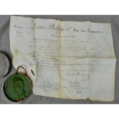 Louis-Philippe 1er Roi des Français Brevet Dispenses Dispense d'Alliance pour mariage de François Laurent et Éloïse Lainné ou Lainé 1847 Monarchie de Juillet