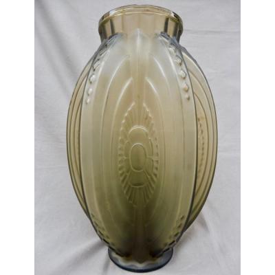 Sabino Marius (1878-1961) Vase En Verre Art Déco Fleurs Stylisées 1930 Ht 28,5cm Signé Sabino Paris Art Deco