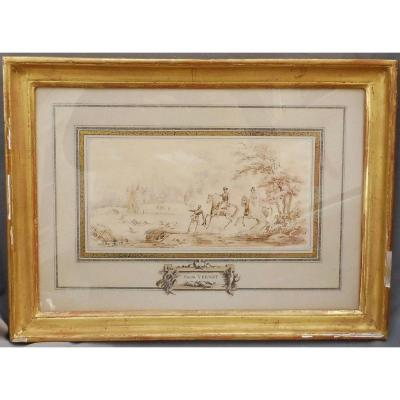 Carle Vernet 1758-1836 Lavis On Paper Hunting Suede Courre Lou Circa 1820 Study For Le Louvre