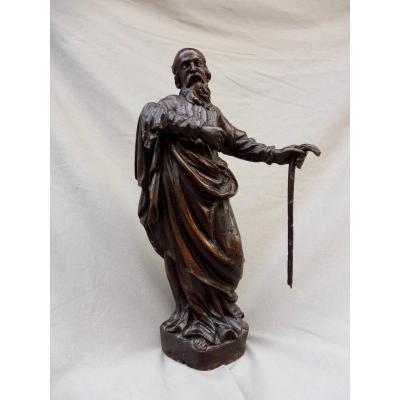 Saint-joseph Carved Wood Statue XVIIIth 18th 38 Cm